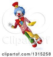 Clipart Of A 3d Colorful Clown Flying Waving And Holding A Banana Royalty Free Illustration