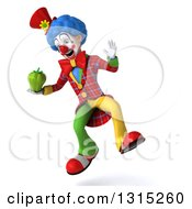 Clipart Of A 3d Colorful Clown Jumping And Holding A Green Bell Pepper Royalty Free Illustration