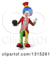 Clipart Of A 3d Colorful Clown Walking Waving And Holding A Blackberry Royalty Free Illustration