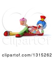 Clipart Of A 3d Colorful Clown Resting On His Side And Holding A Pink Frosted Cupcake Royalty Free Illustration