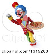 Clipart Of A 3d Colorful Clown Flying With A Pizza Royalty Free Illustration