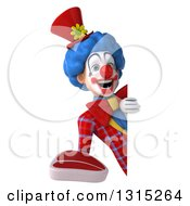 Clipart Of A 3d Colorful Clown Holding A Beef Steak Around A Sign Royalty Free Illustration