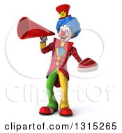 Clipart Of A 3d Colorful Clown Holding A Beef Steak And Announcing With A Megaphone Royalty Free Illustration