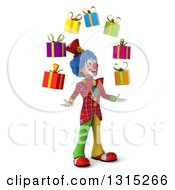 Clipart Of A 3d Colorful Clown Facing Slightly Right Looking Up And Juggling Gifts Royalty Free Illustration