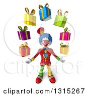 Clipart Of A 3d Colorful Clown Looking Up And Juggling Gifts Royalty Free Illustration