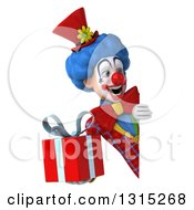 Clipart Of A 3d Colorful Clown Holding A Gift Around A Sign Royalty Free Illustration