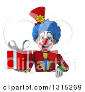 Clipart Of A 3d Colorful Clown Holding A Gift Over A Sign Royalty Free Illustration