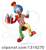 Clipart Of A 3d Colorful Clown Jumping And Holding A Gift Royalty Free Illustration
