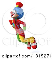 Clipart Of A 3d Colorful Clown Facing Left And Flying Upwards Royalty Free Illustration