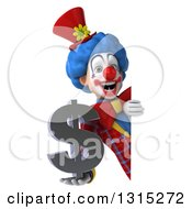 Clipart Of A 3d Colorful Clown Holding A Dollar Symbol Around A Sign Royalty Free Illustration