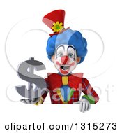 Clipart Of A 3d Colorful Clown Holding A Dollar Symbol Over A Sign Royalty Free Illustration