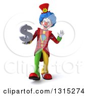 Clipart Of A 3d Colorful Clown Walking Waving And Holding A Dollar Symbol Royalty Free Illustration