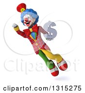 Clipart Of A 3d Colorful Clown Flying And Holding A Dollar Symbol Royalty Free Illustration