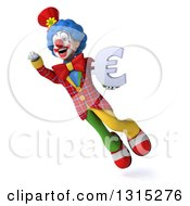 Clipart Of A 3d Colorful Clown Flying Up To The Left And Holding A Euro Symbol Royalty Free Illustration