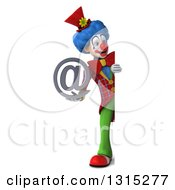 Clipart Of A 3d Full Length Colorful Clown Holding An Email Arobase At Symbol Around A Sign Royalty Free Illustration