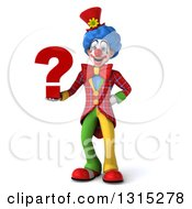 Clipart Of A 3d Colorful Clown Holding A Question Mark Royalty Free Illustration