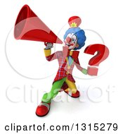 Clipart Of A 3d Colorful Clown Holding A Question Mark And Announcing Upwards With A Megaphone Royalty Free Illustration