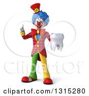 Clipart Of A 3d Colorful Clown Holding Up A Finger And A Tooth Royalty Free Illustration