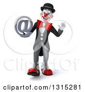 Clipart Of A 3d White And Black Clown Walking Waving And Holding An Email Arobase At Symbol Royalty Free Illustration