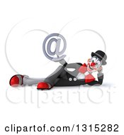 Clipart Of A 3d White And Black Clown Resting On His Side And Holding An Email Arobase At Symbol Royalty Free Illustration
