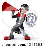 Clipart Of A 3d White And Black Clown Holding An Email Arobase At Symbol And Using A Megaphone Royalty Free Illustration