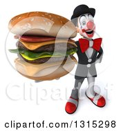 Clipart Of A 3d White And Black Clown Holding Up A Double Cheeseburger Royalty Free Illustration