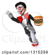 Clipart Of A 3d White And Black Clown Flying Slightly Up To The Left And Holding A Double Cheeseburger Royalty Free Illustration
