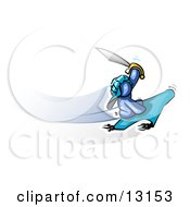 Blue Man Holding Up A Sword And Flying On A Magic Carpet Clipart Illustration