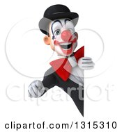 Clipart Of A 3d White And Black Clown Pointing Outwards Around A Sign Royalty Free Illustration