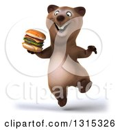 Clipart Of A 3d Happy Brown Bear Jumping And Holding A Double Cheeseburger Royalty Free Illustration