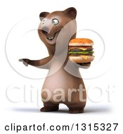 Clipart Of A 3d Happy Brown Bear Pointing And Holding A Double Cheeseburger Royalty Free Illustration