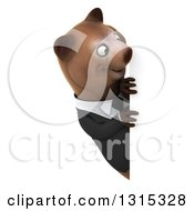Clipart Of A 3d Brown Business Bear Looking Around A Sign Royalty Free Illustration