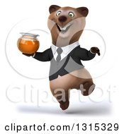 Clipart Of A 3d Happy Brown Business Bear Jumping With A Honey Jar Royalty Free Illustration