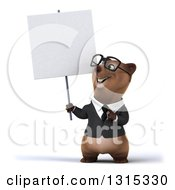 Clipart Of A 3d Happy Bespectacled Brown Business Bear Holding Up And Pointing To A Blank Sign Royalty Free Illustration