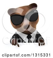 Clipart Of A 3d Brown Business Bear Wearing Sunglasses And Pointing Down Over A Sign Royalty Free Illustration