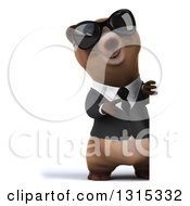 Clipart Of A 3d Full Length Brown Business Bear Wearing Sunglasses And Pointing Around A Sign Royalty Free Illustration