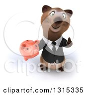 Clipart Of A 3d Brown Business Bear Holding Up A Piggy Bank And Thumb Royalty Free Illustration