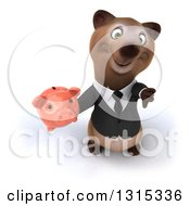 Clipart Of A 3d Brown Business Bear Holding Up A Piggy Bank And Thumb Down Royalty Free Illustration
