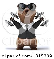 Clipart Of A 3d Happy Brown Business Bear Wearing Sunglasses Working Out And Doing Shoulder Presses With Dumbbells Royalty Free Illustration