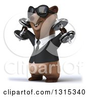Clipart Of A 3d Happy Brown Business Bear Wearing Sunglasses Facing Slightly Left Working Out And Doing Shoulder Presses With Dumbbells Royalty Free Illustration