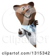 Clipart Of A 3d Happy Brown Bear Doctor Or Veterinarian Giving A Thumb Up Around A Sign Royalty Free Illustration