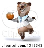Clipart Of A 3d Happy Brown Bear Doctor Or Veterinarian Jumping And Holding A Honey Jar Royalty Free Illustration