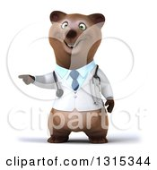 Clipart Of A 3d Happy Brown Bear Doctor Or Veterinarian Pointing Royalty Free Illustration by Julos