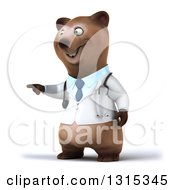 Clipart Of A 3d Happy Brown Bear Doctor Or Veterinarian Pointing To The Left Royalty Free Illustration by Julos