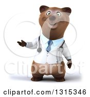 Clipart Of A 3d Happy Brown Bear Doctor Or Veterinarian Presenting Royalty Free Illustration by Julos