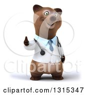 Clipart Of A 3d Happy Brown Bear Doctor Or Veterinarian Giving A Thumb Up Royalty Free Illustration by Julos
