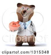Clipart Of A 3d Happy Brown Bear Doctor Or Veterinarian Holding A Piggy Bank Royalty Free Illustration by Julos