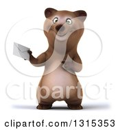 Clipart Of A 3d Happy Brown Bear Holding And Pointing To An Envelope Royalty Free Illustration