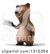 Clipart Of A 3d Happy Brown Bear Facing Slightly Left And Holding An Envelope Royalty Free Illustration