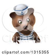 Clipart Of A 3d Brown Sailor Bear Pointing Down Over A Sign Royalty Free Illustration